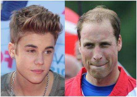 photo portrait de justin Bieber et du Prince William