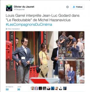 """Louis Garrel sur le tournage """"Le Redoutable"""""""
