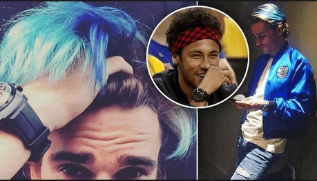 Cheveux bleus Griezmann Neymar